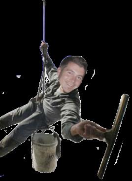 Man hangt aan touw